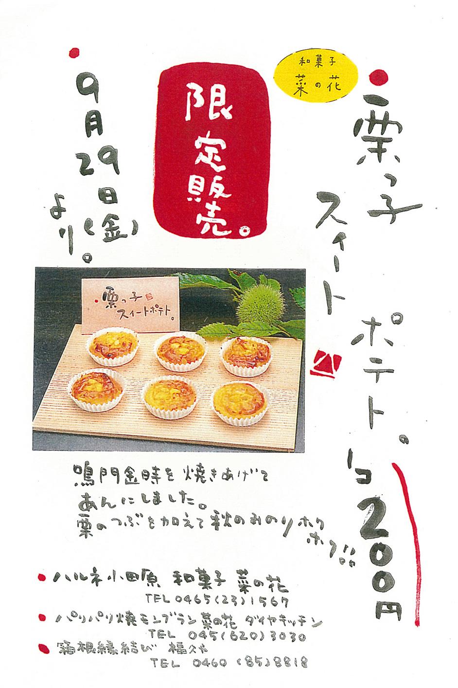 【菜の花ヴィレッジ】新発売!栗っ子スイートポテト